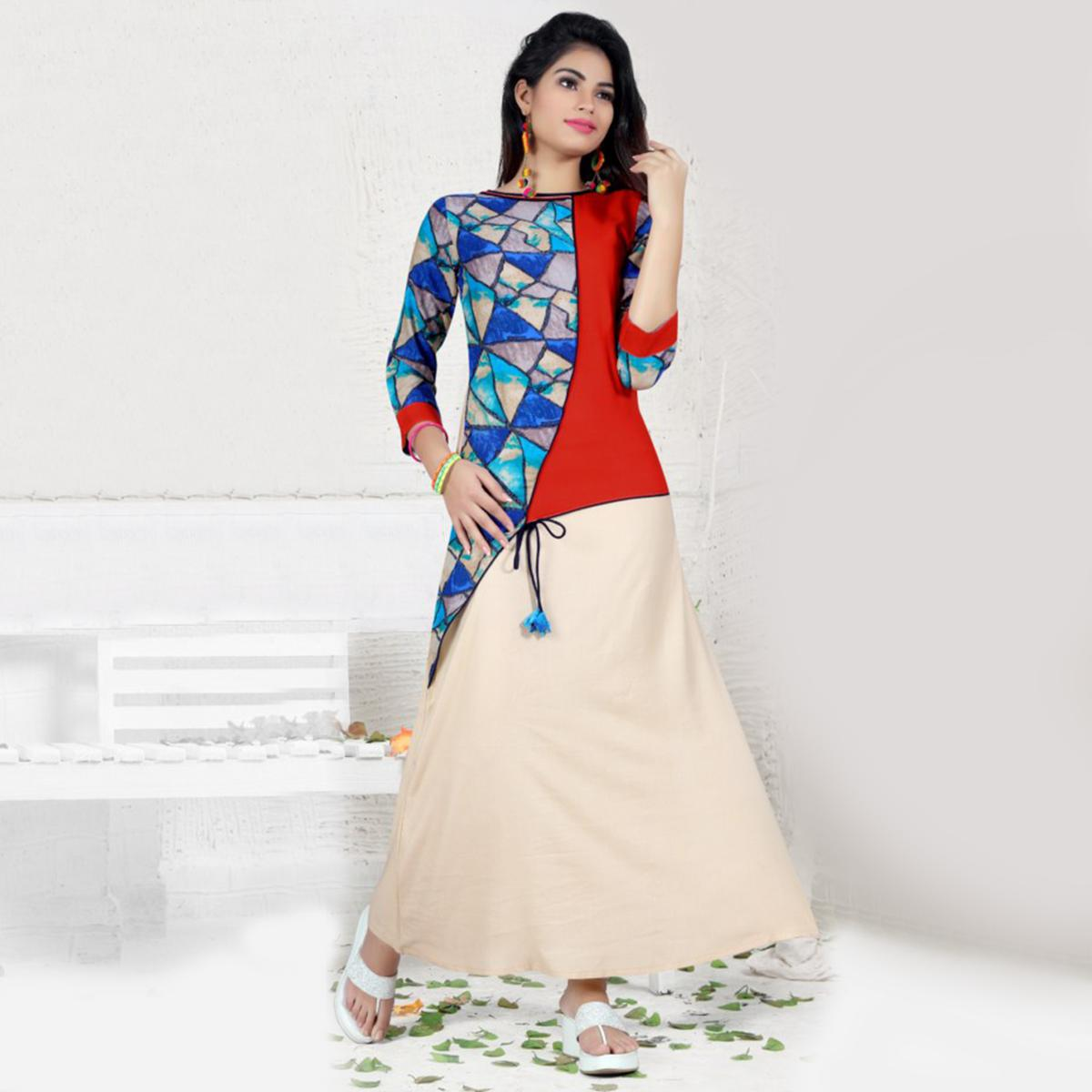 Multi Colored Designer Printed Rayon Cotton Kurti