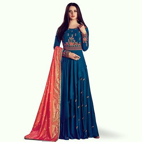 Jazzy Dark Teal Blue Colored Partywear Embroidered Rayon Anarkali