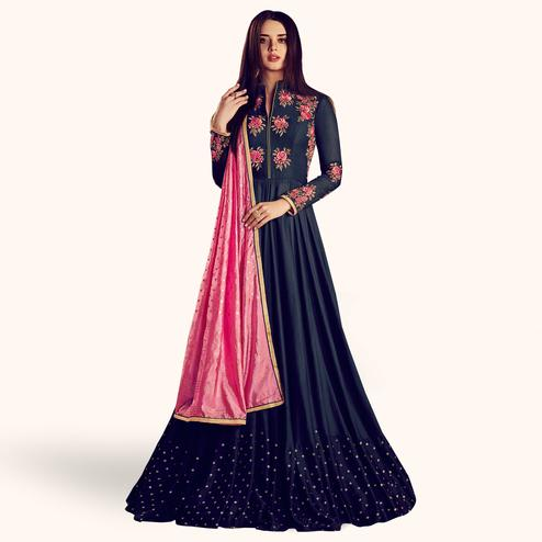 Adorning Navy Blue Colored Partywear Embroidered Rayon Anarkali