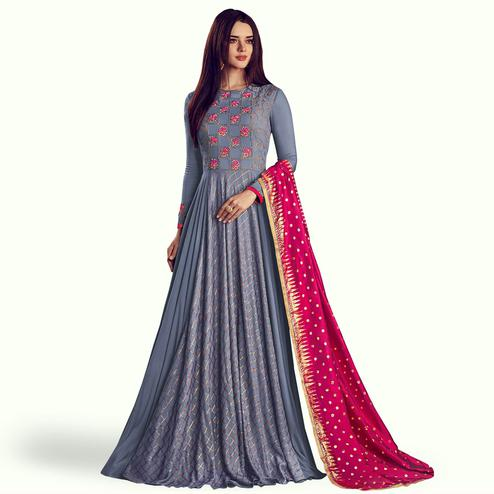 Appealing Bluish Gray Colored Partywear Embroidered Rayon Anarkali