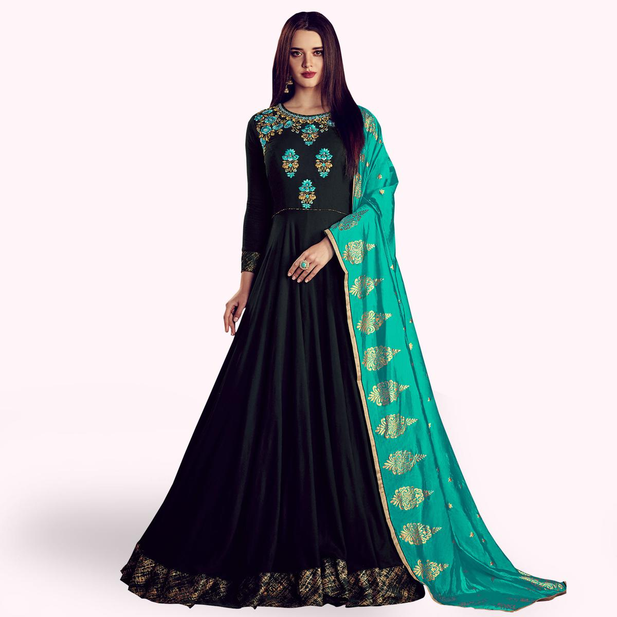 Capricious Black Colored Partywear Embroidered Rayon Anarkali