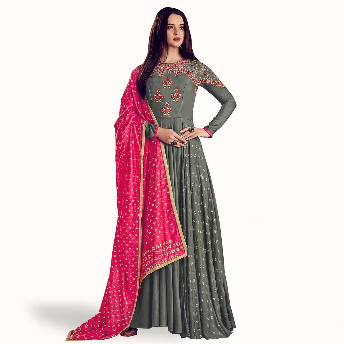 Captivating Gray Colored Partywear Embroidered Rayon Anarkali