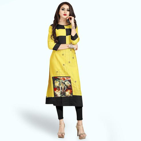 Gorgeous Yellow Colored Casual Printed Rayon Kurti