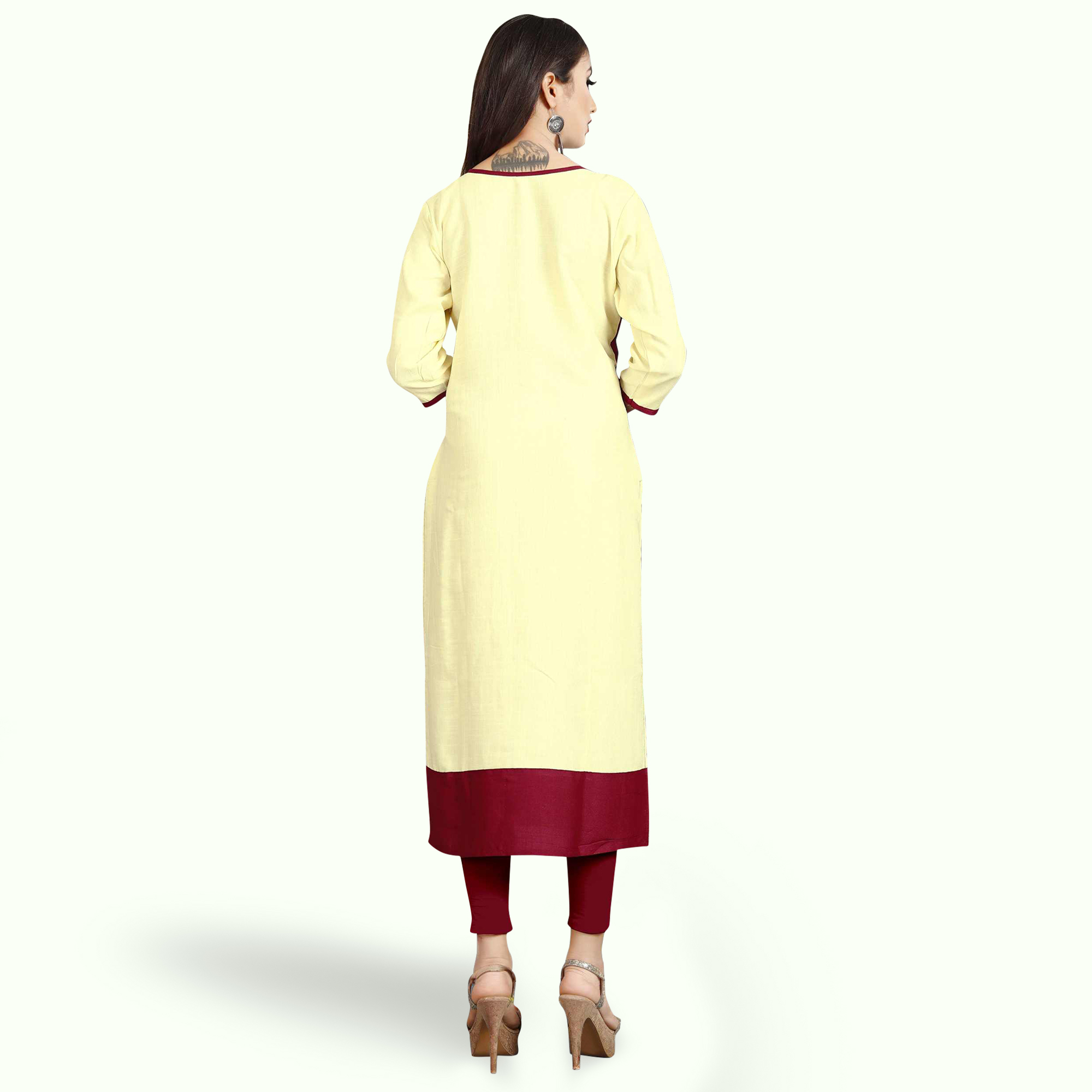Graceful Cream Colored Casual Printed Rayon Kurti