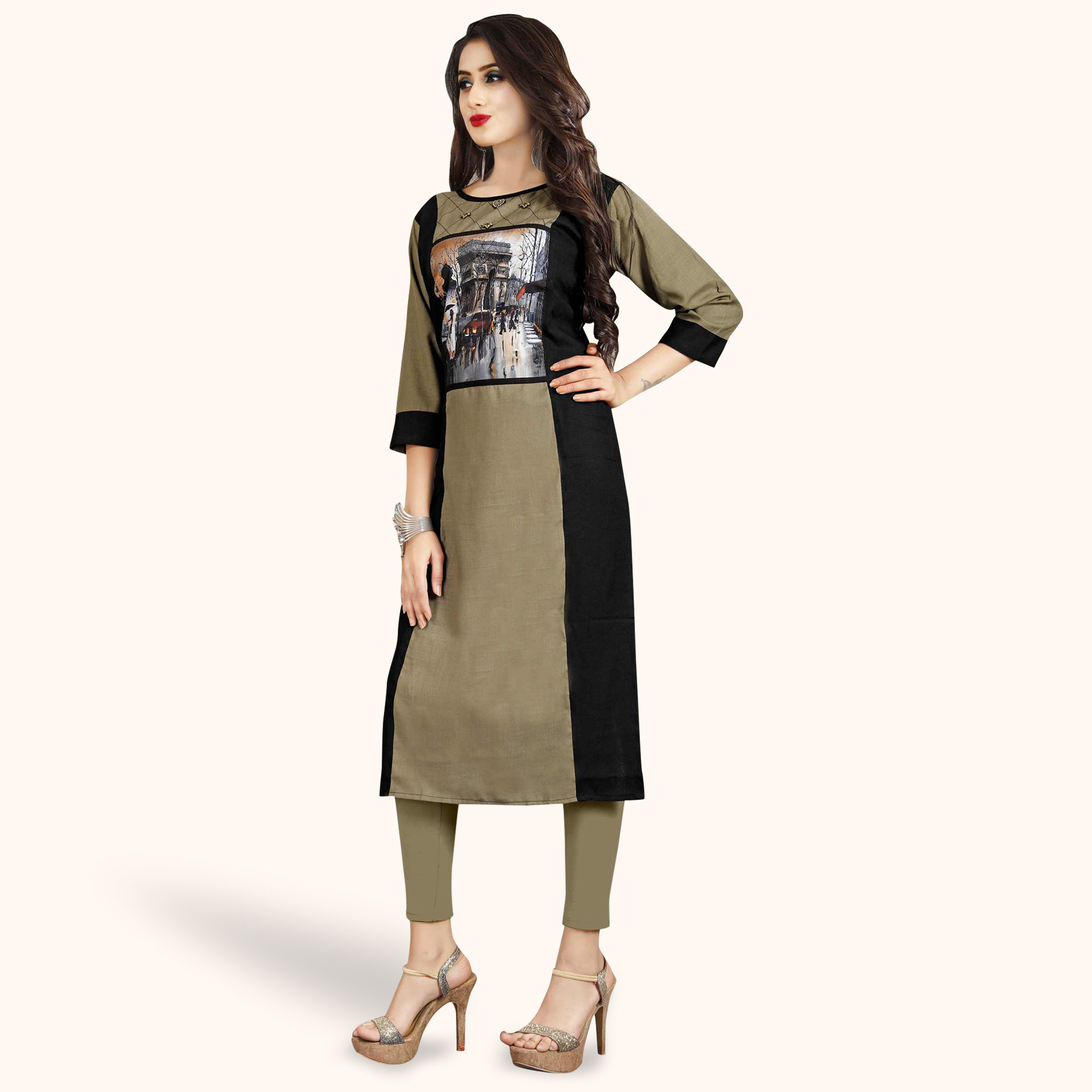 Ideal Light Coffee Colored Casual Printed Rayon Kurti