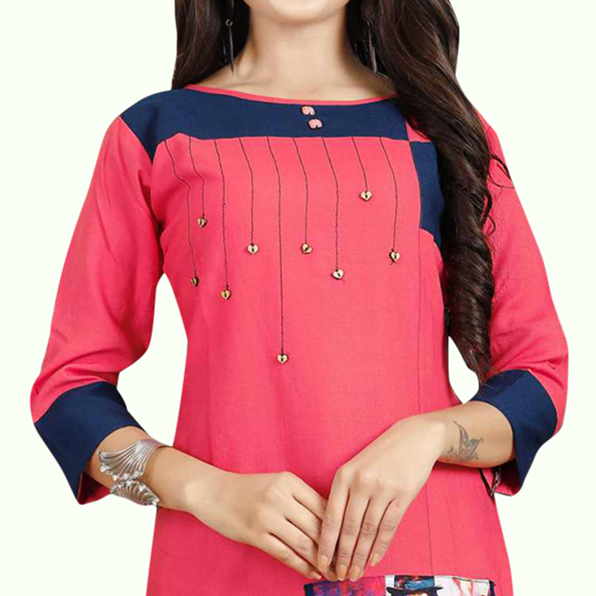 Imposing Pink Colored Casual Printed Rayon Kurti