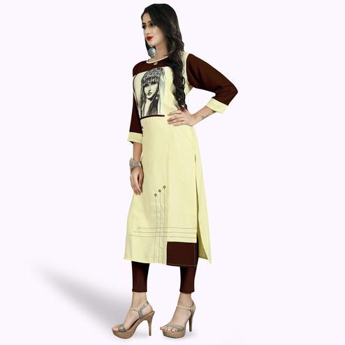 Lovely Light Yellow Colored Casual Printed Rayon Kurti
