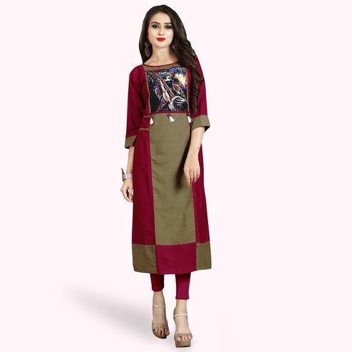 Majesty Magenta Pink-Coffee Colored Casual Printed Rayon Kurti