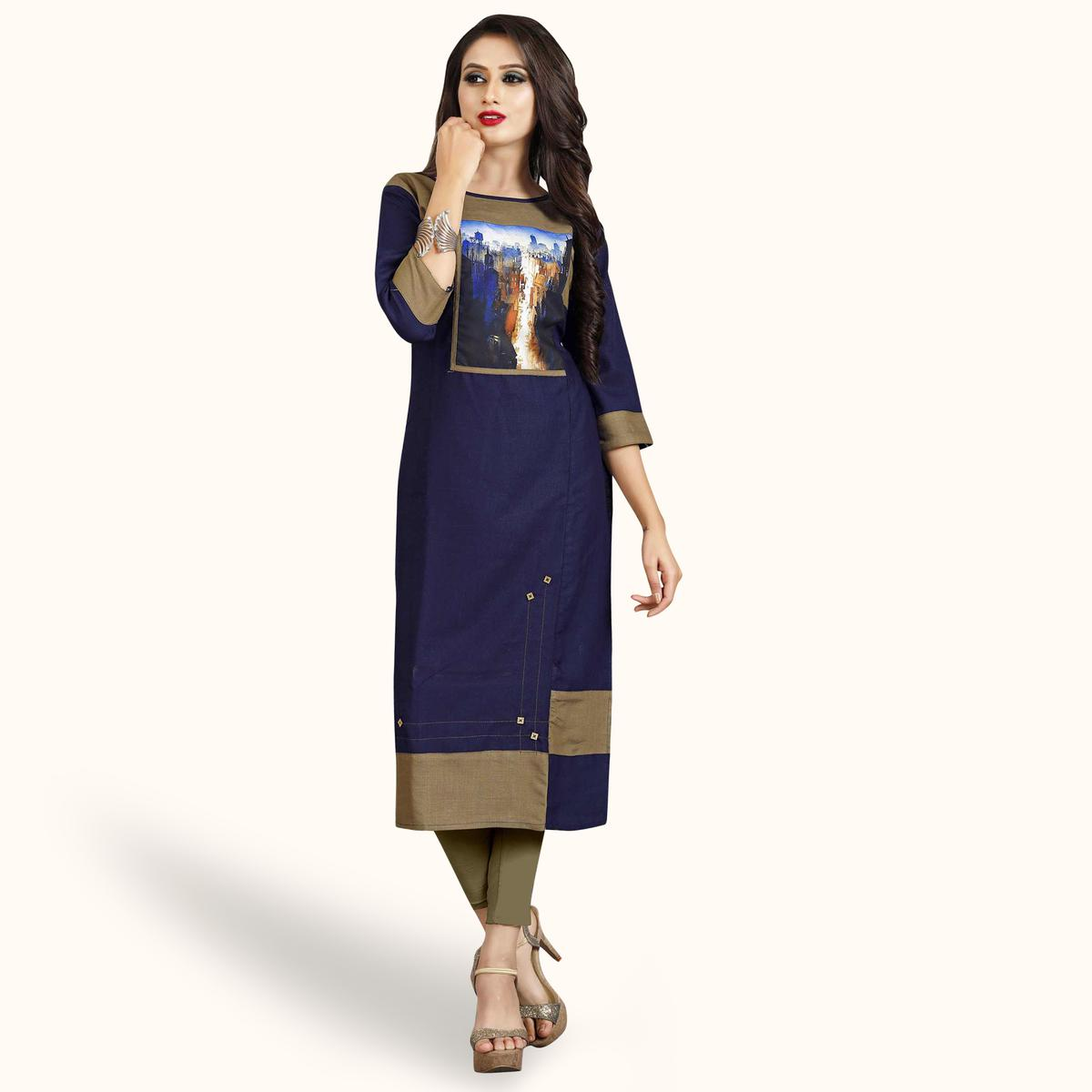 Marvellous Navy Blue Colored Casual Printed Rayon Kurti