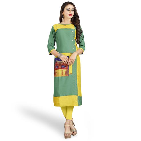 Demanding Green-Yellow Colored Casual Printed Rayon Kurti