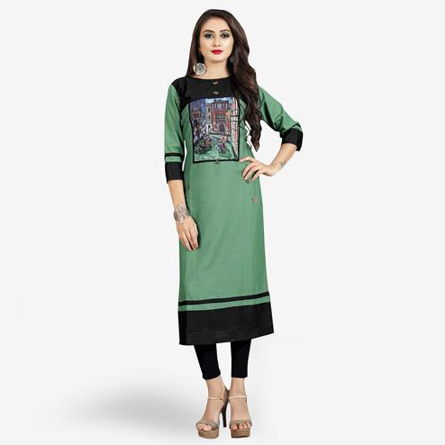 Refreshing Green-Black Colored Casual Printed Rayon Kurti