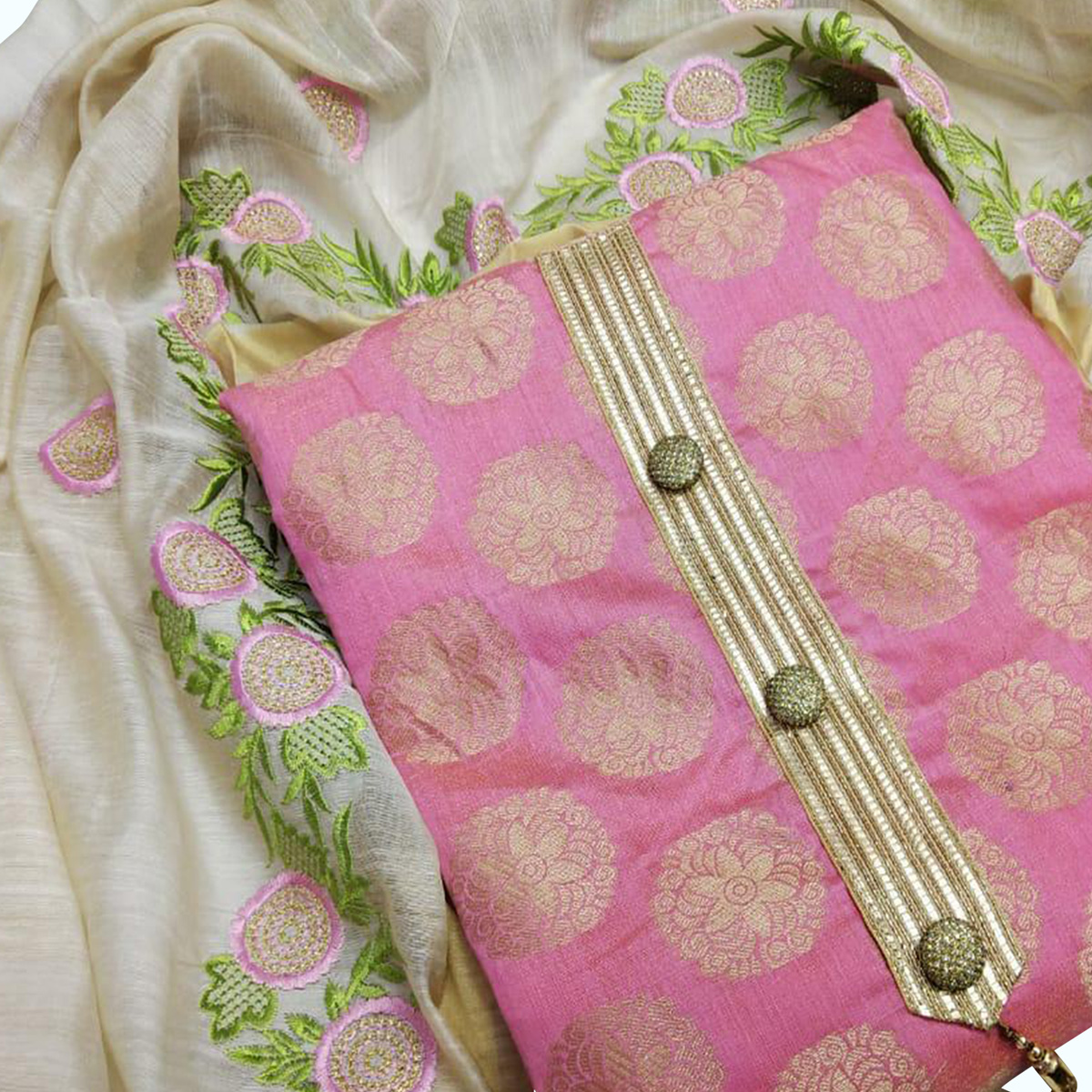 Beautiful Pink Colored Partywear Woven Jacquard Silk Dress Material