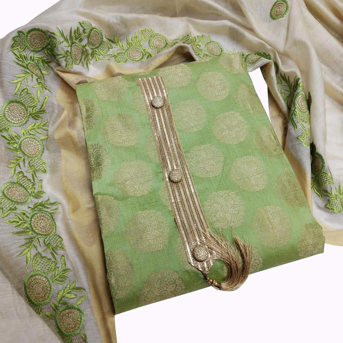 Refreshing Green Colored Partywear Woven Jacquard Silk Dress Material