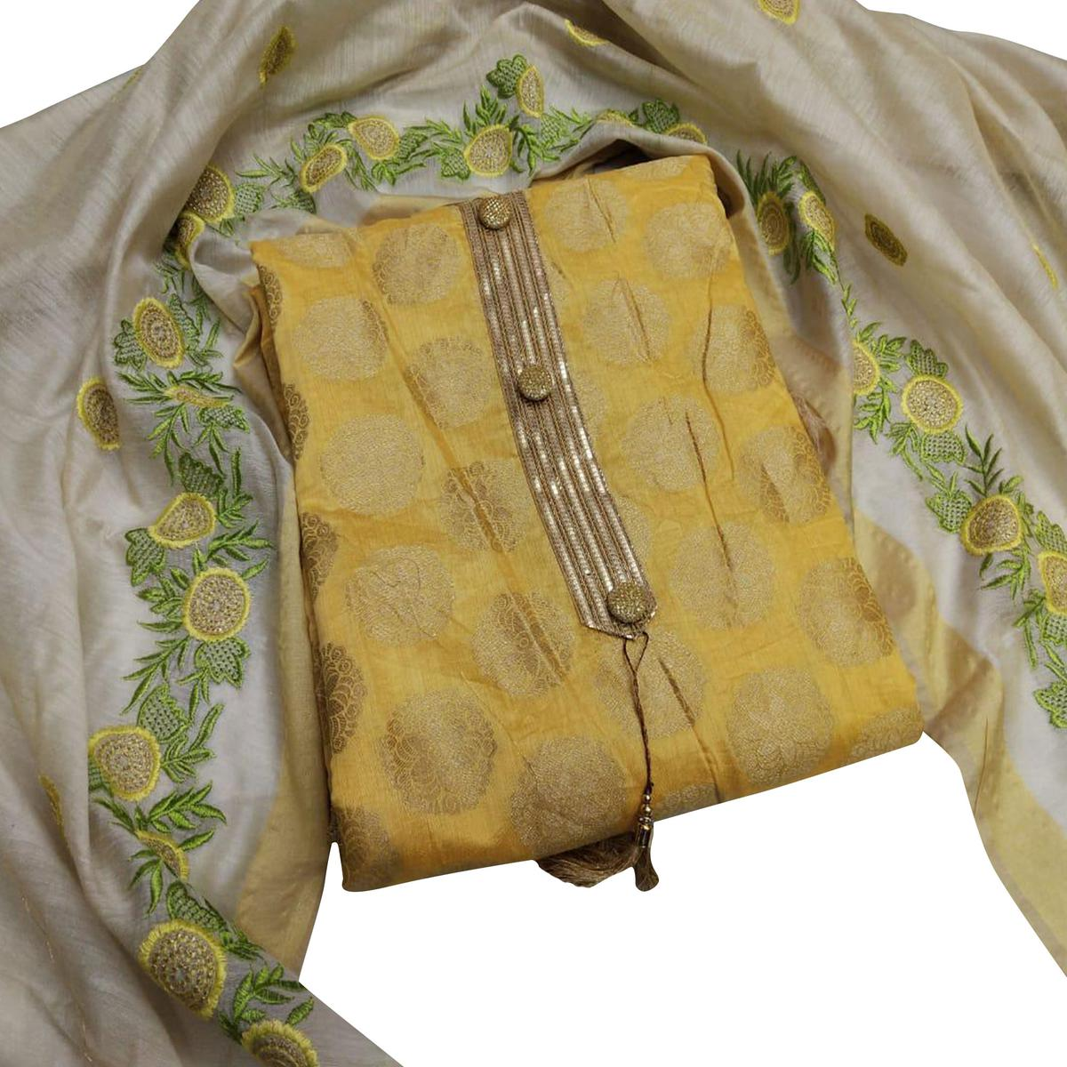 Glowing Yellow Colored Partywear Woven Jacquard Silk Dress Material
