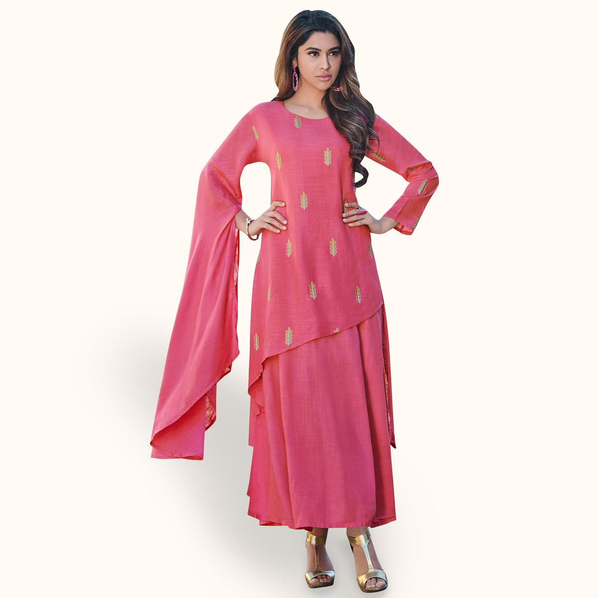 Demanding Pink Colored Partywear Embroidered Rayon Kurti