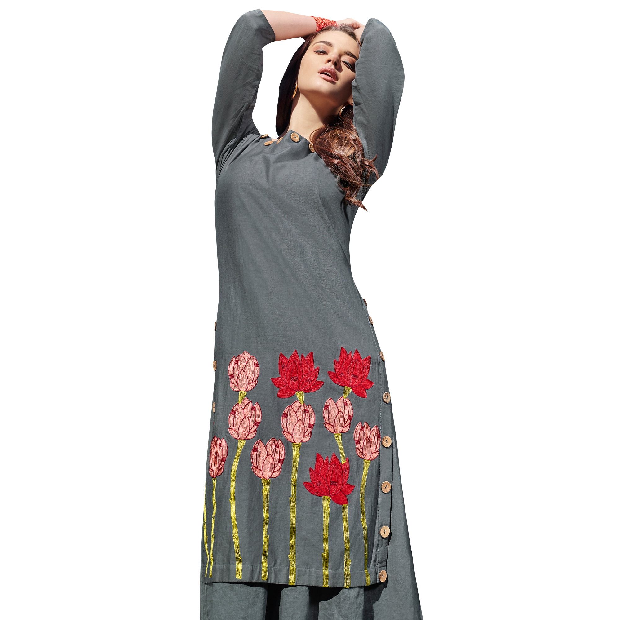 Refreshing Gray Colored Partywear Embroidered Rayon Kurti