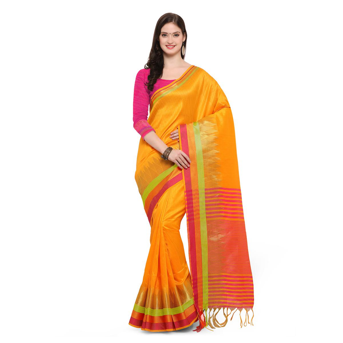 Yellow Festive Wear Woven Ghicha Silk Saree