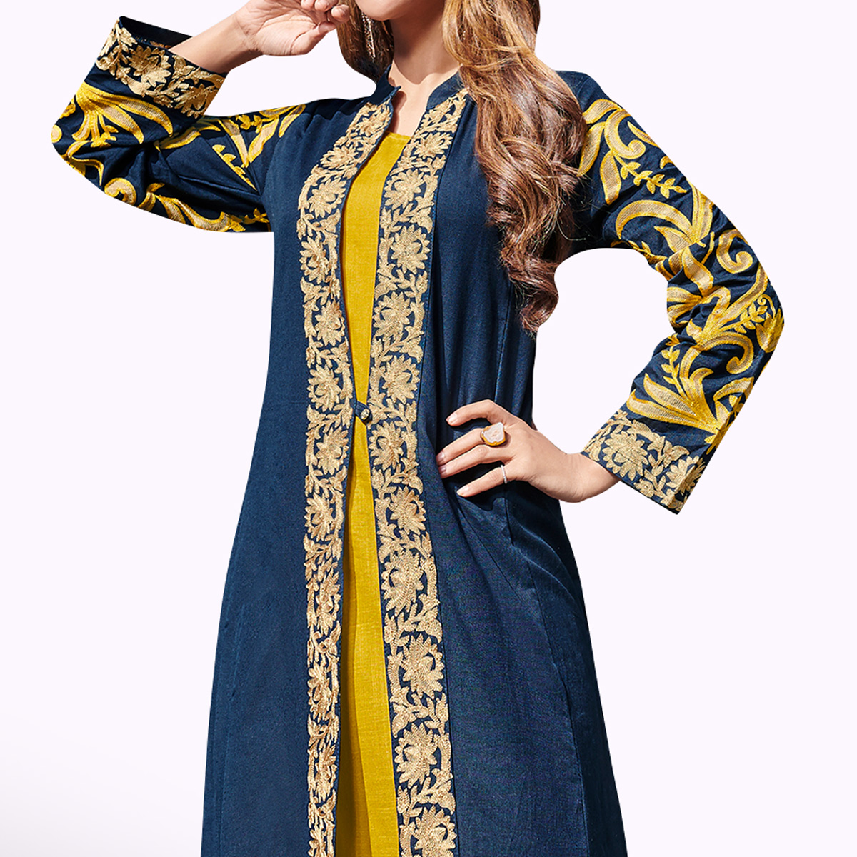 Magnetic Navy Blue-Mustard Yellow Colored Partywear Embroidered Rayon Kurti