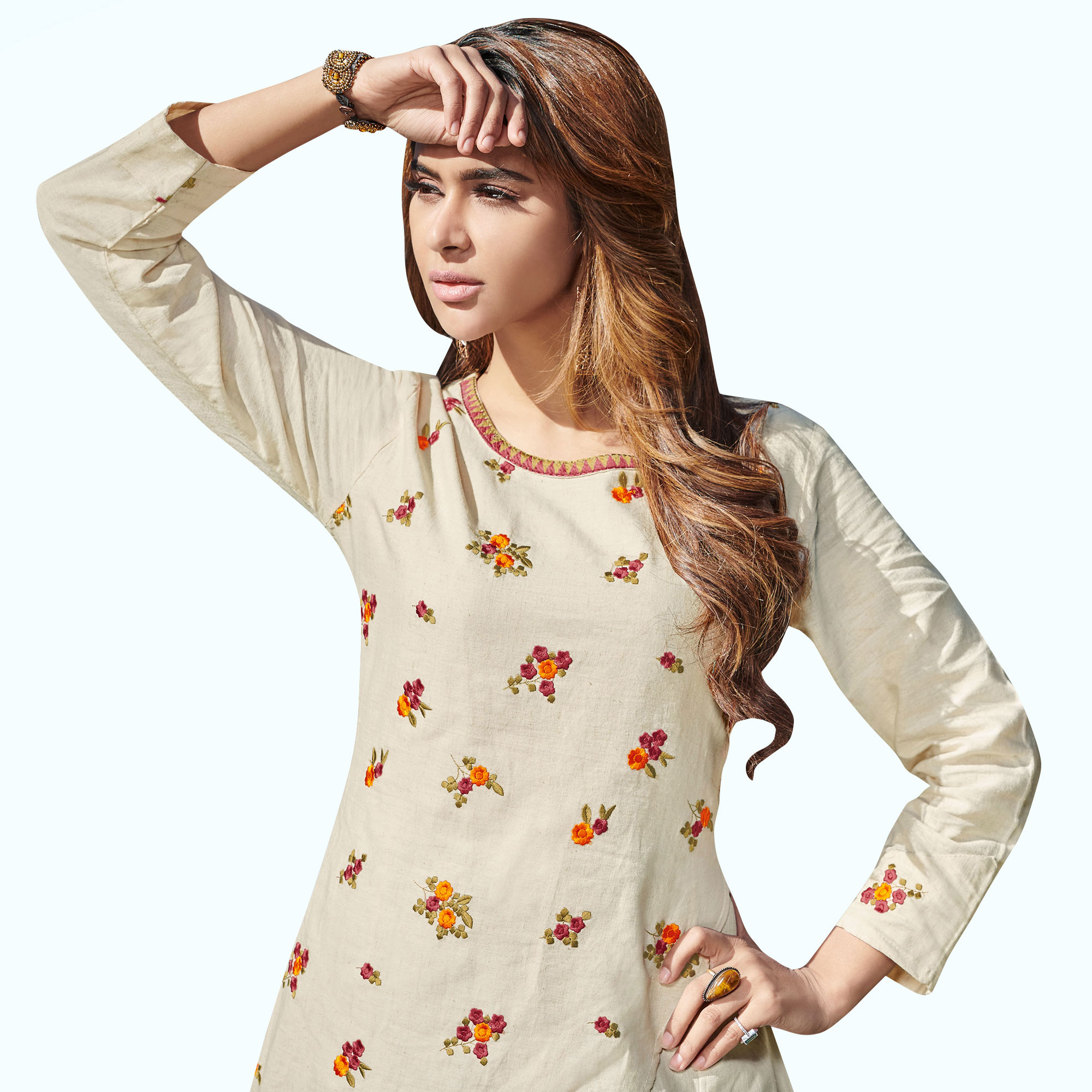 Hypnotic Off White Colored Partywear Embroidered Rayon Kurti