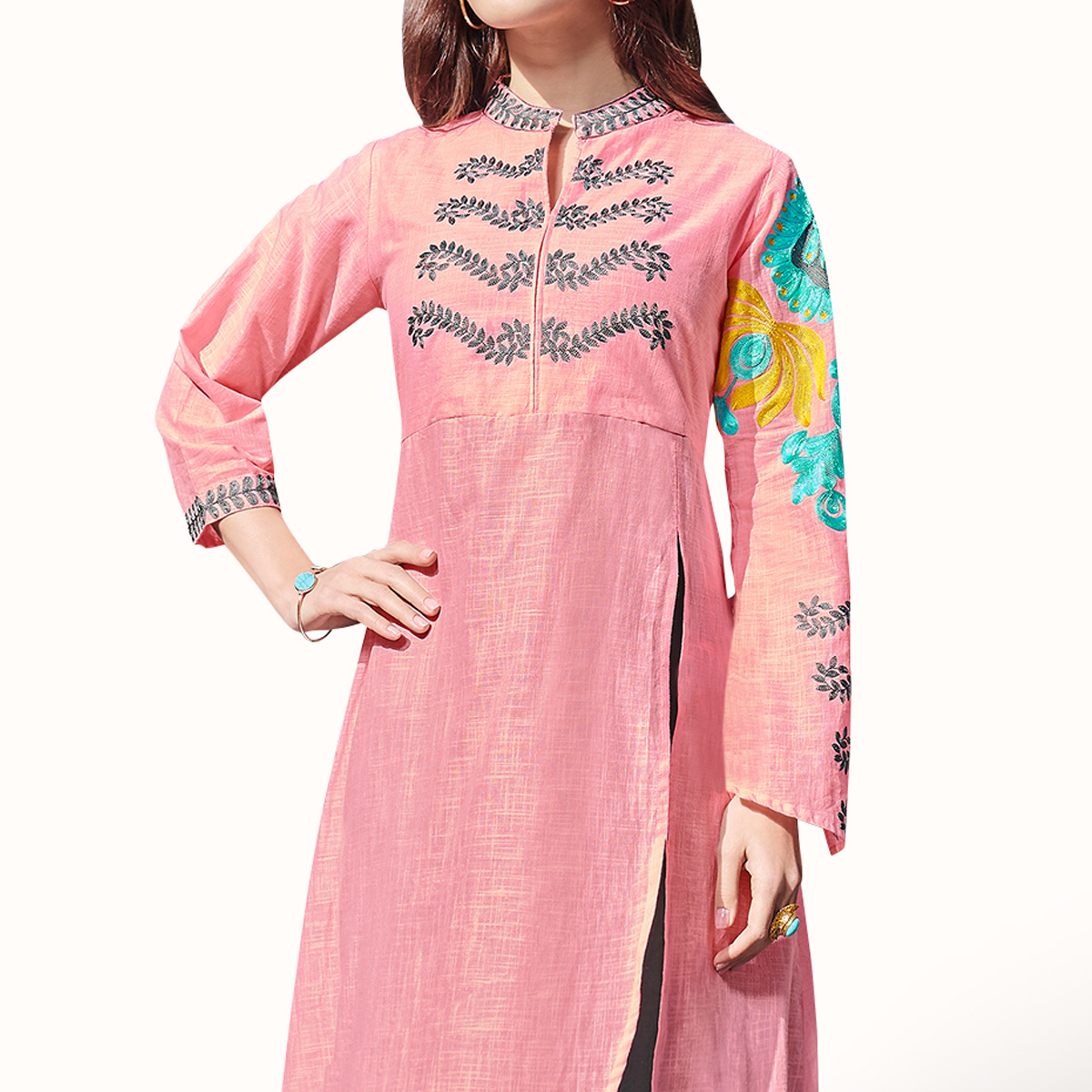 Elegant Pink-Gray Colored Partywear Embroidered Rayon Kurti