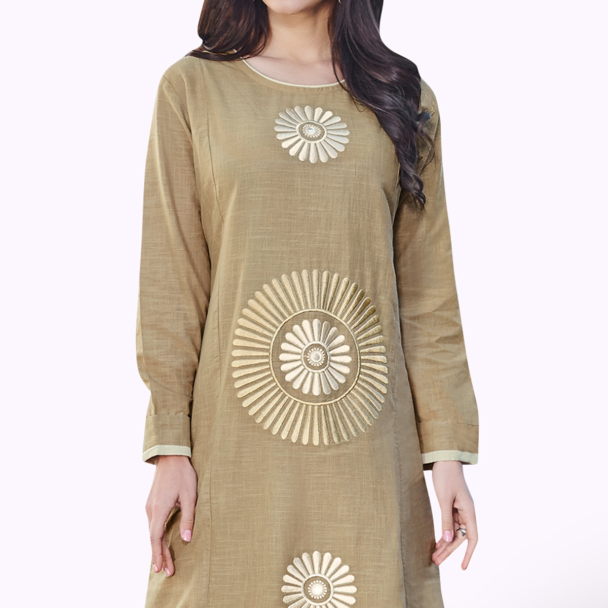 Excellent Dark Beige Colored Partywear Embroidered Rayon Kurti
