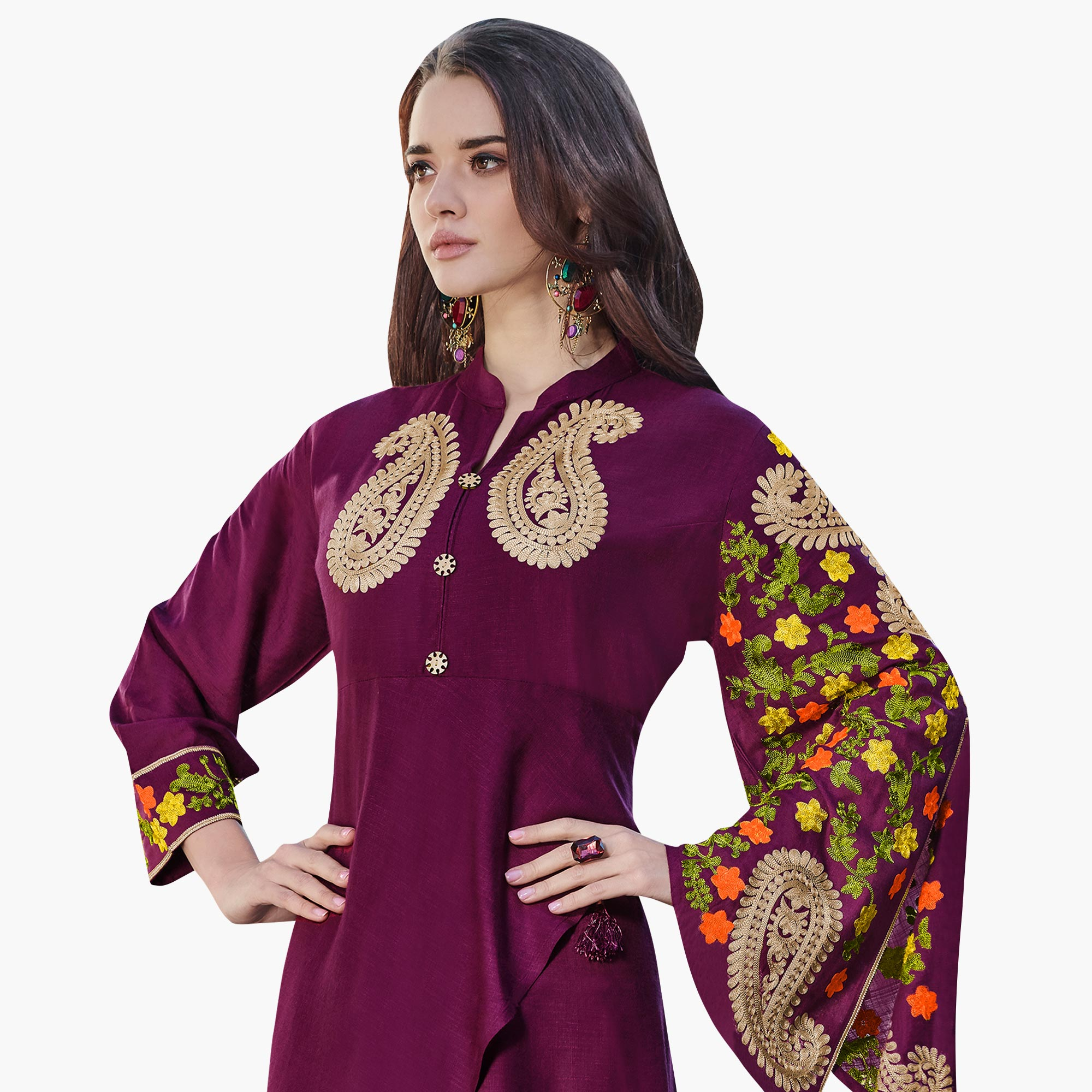 Breathtaking Wine Colored Partywear Embroidered Rayon Kurti