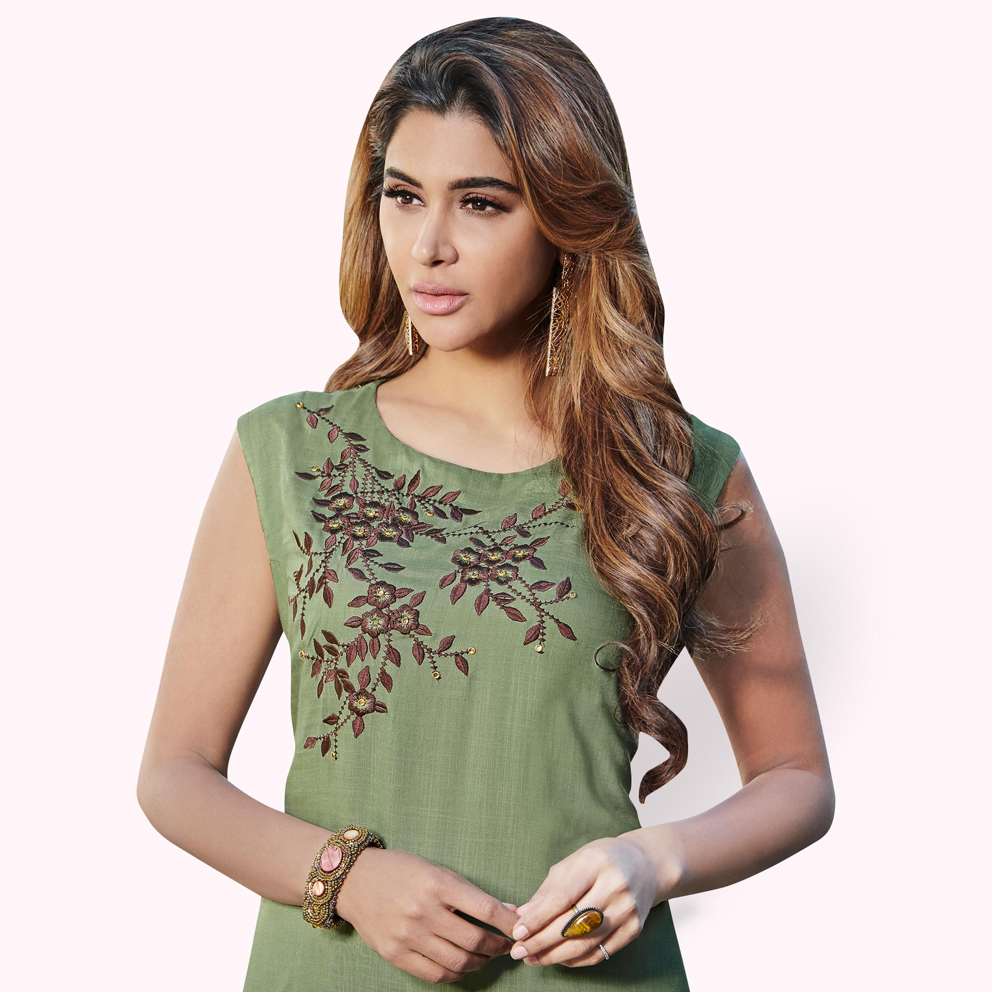 Impressive Light Olive Green Colored Partywear Embroidered Rayon Kurti