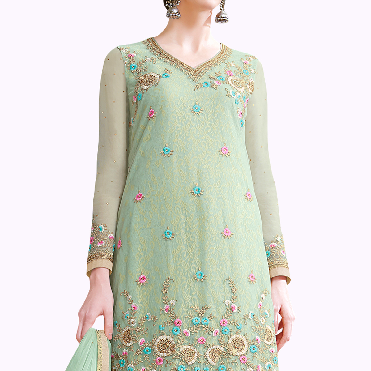 Impressive Pastel Green Colored Partywear Embroidered Netted Palazzo Suit
