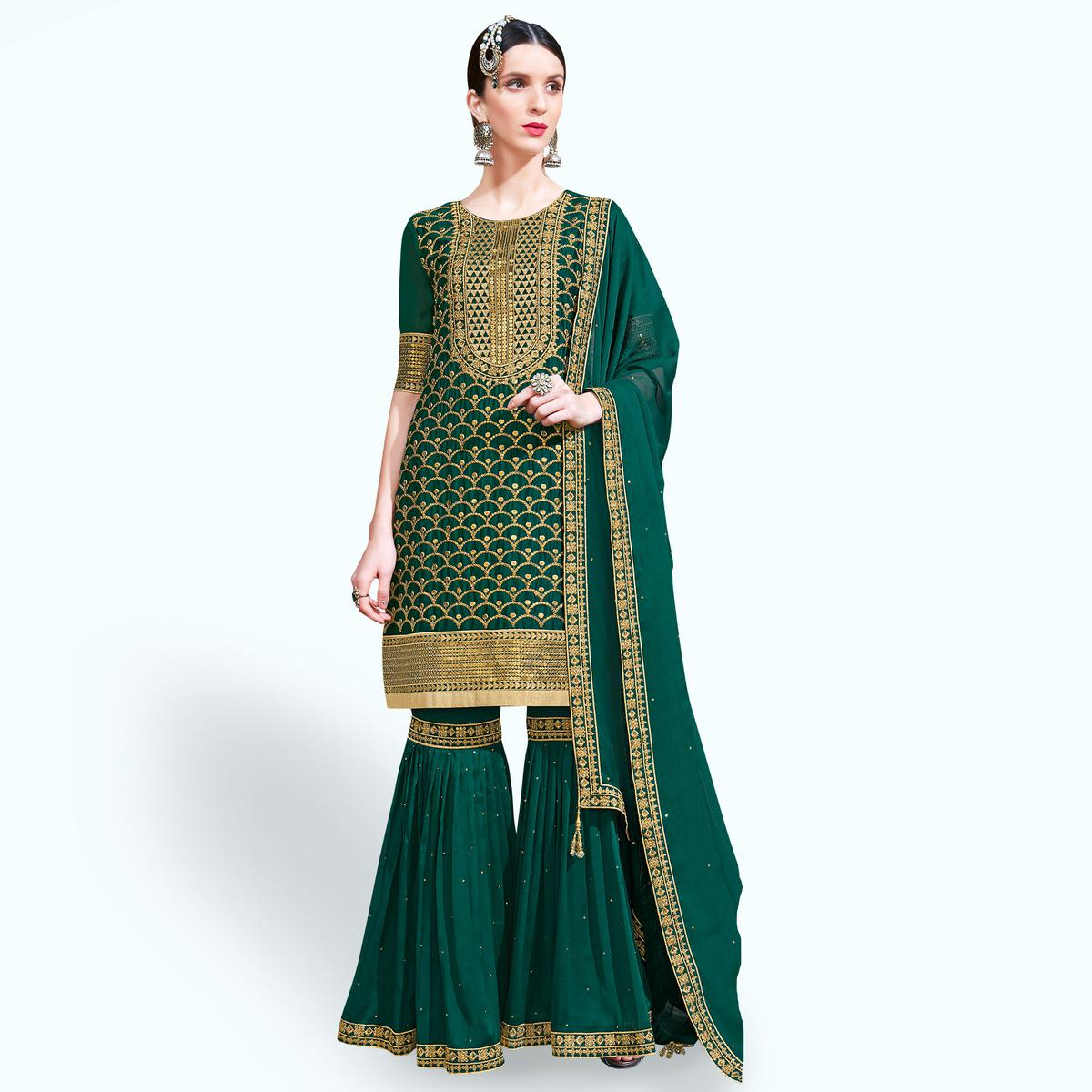 Marvellous Dark Green Colored Partywear Embroidered Georgette Palazzo Suit