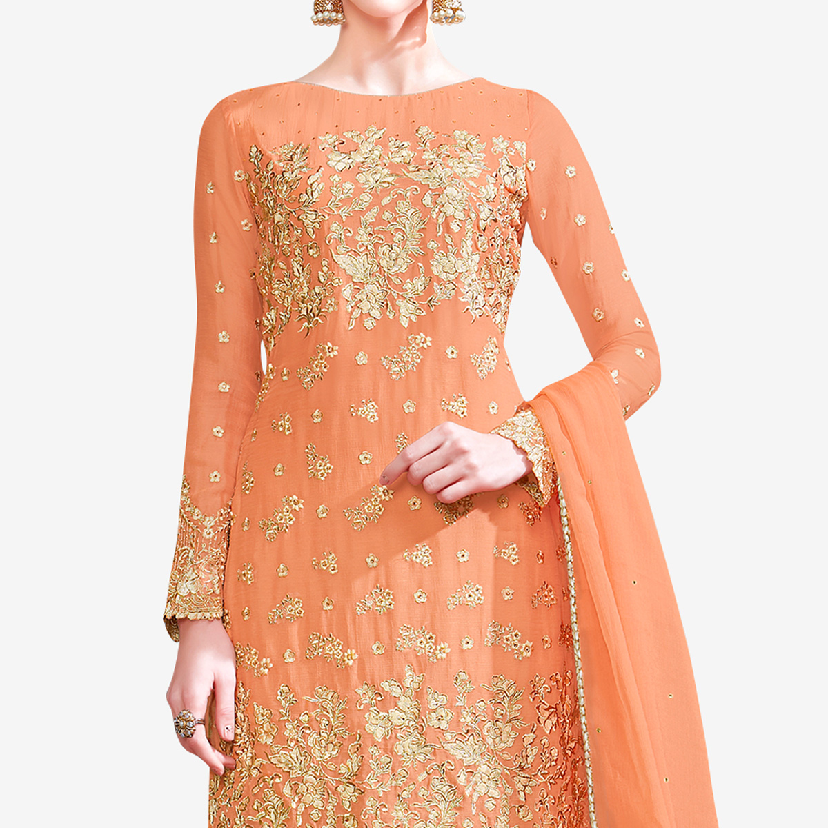 Fantastic Pastel Orange Colored Partywear Embroidered Georgette Palazzo Suit