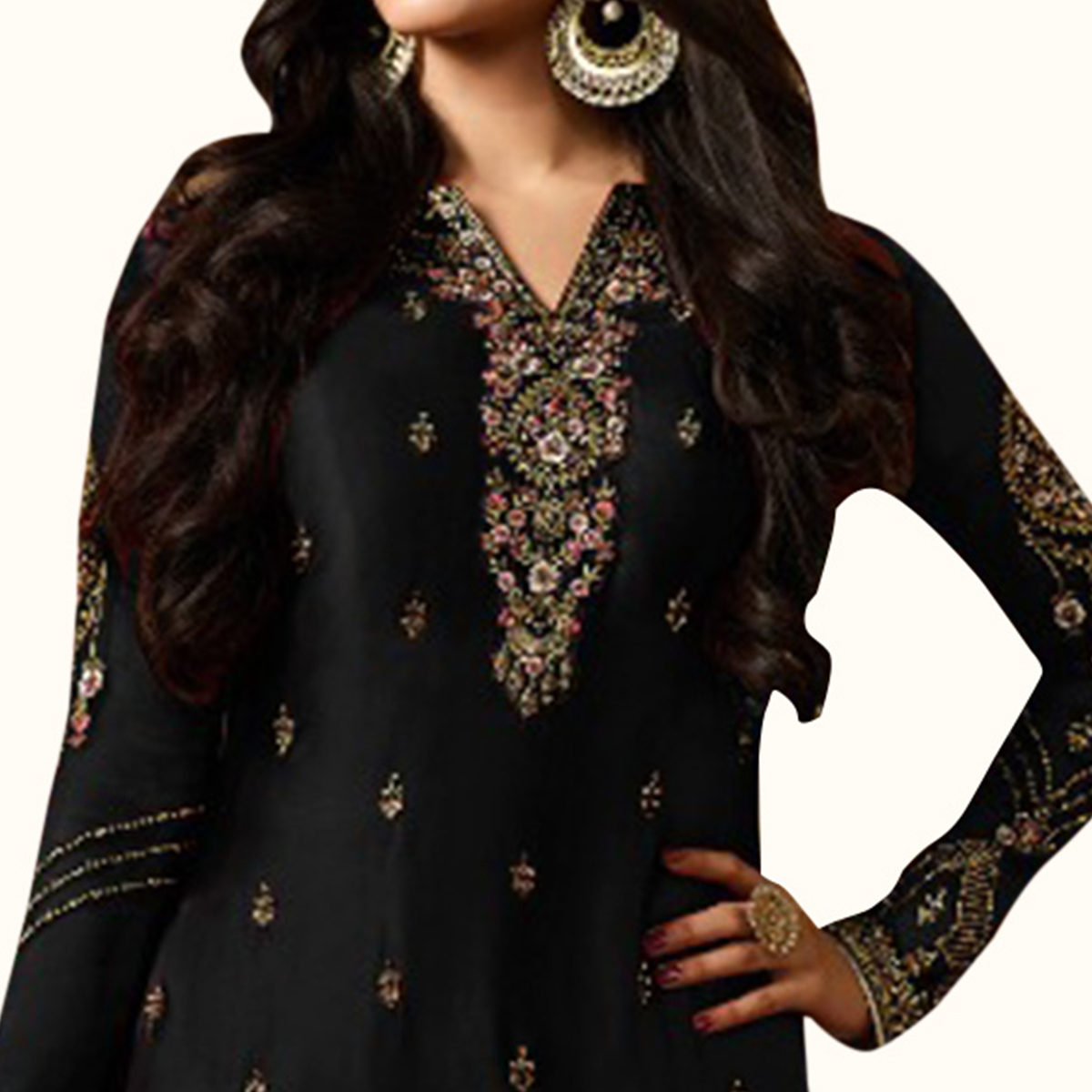 Sophisticated Black Colored Partywear Embroidered Georgette Palazzo Suit