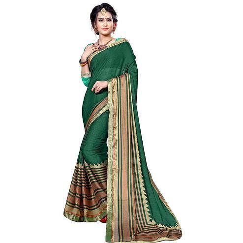 Classy Green Colored Festive Wear Printed Chiffon Saree