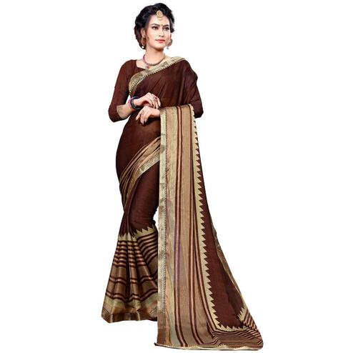 Elegant Brown Colored Festive Wear Printed Chiffon Saree