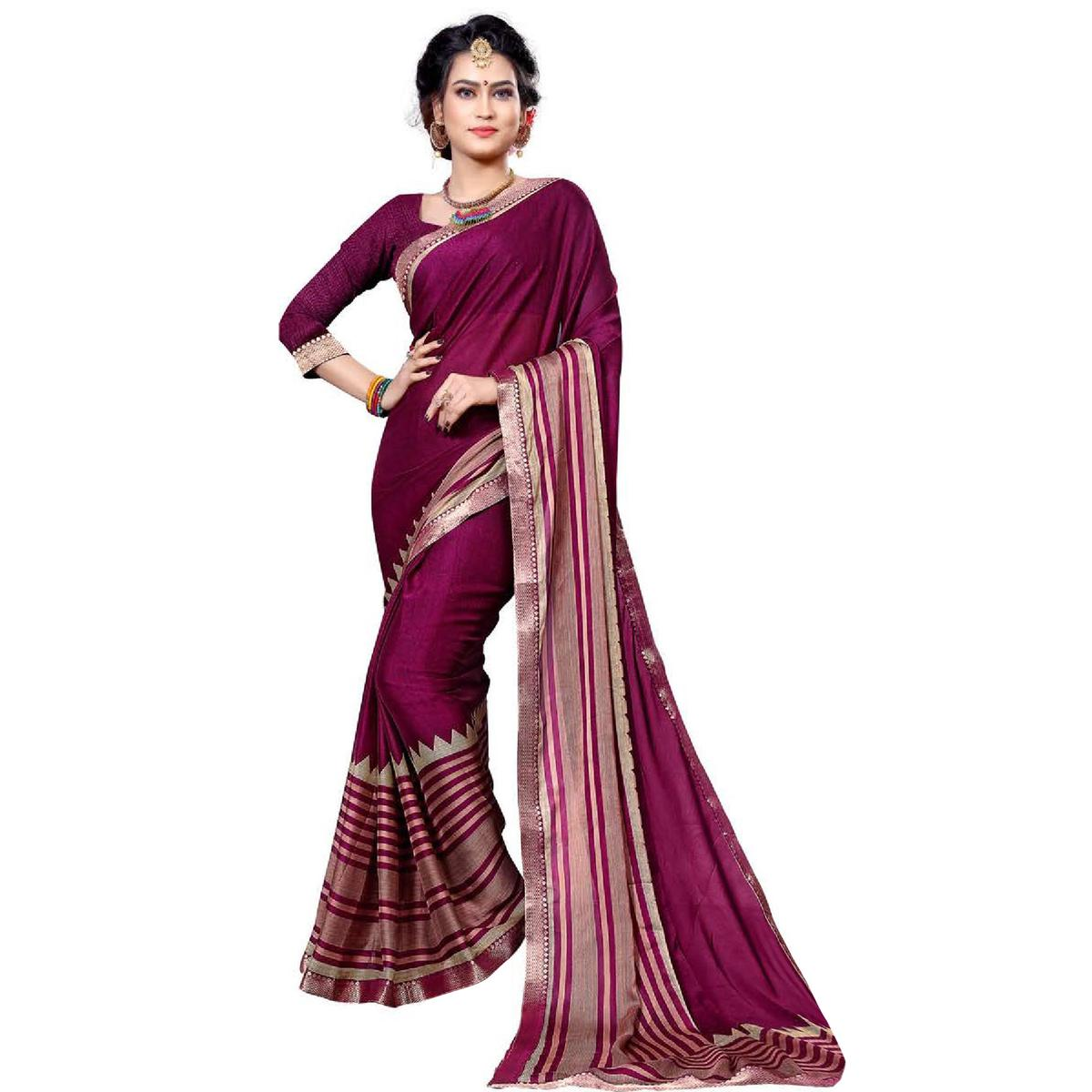 Attractive Magenta Pink Colored Festive Wear Printed Chiffon Saree