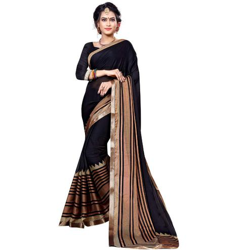Eye-Catching Black Colored Festive Wear Printed Chiffon Saree