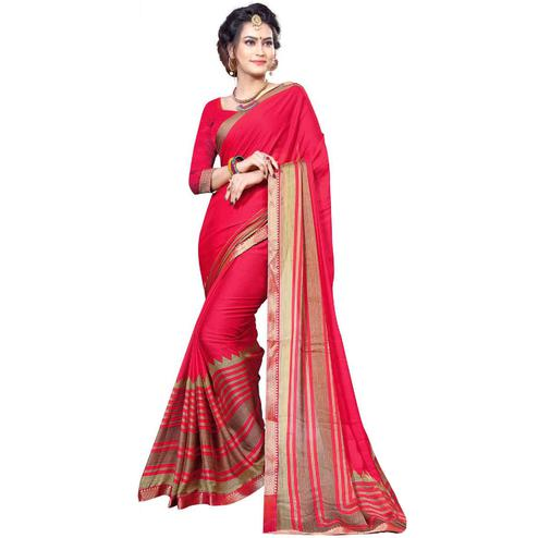 Demanding Pink Colored Festive Wear Printed Chiffon Saree