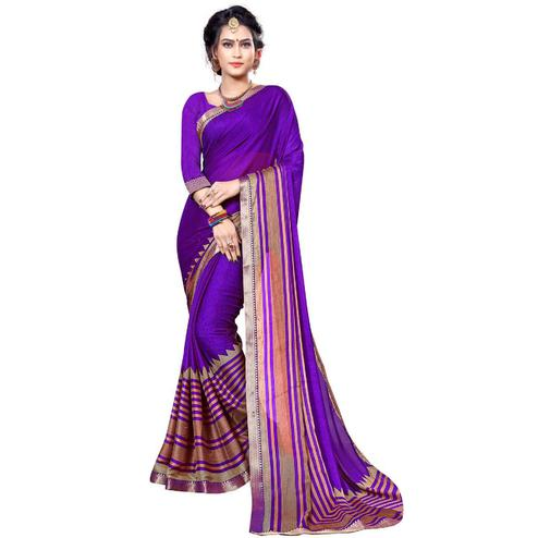 Desiring Purple Colored Festive Wear Printed Chiffon Saree