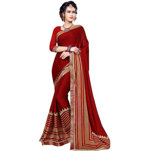 Glowing Red Colored Festive Wear Printed Chiffon Saree