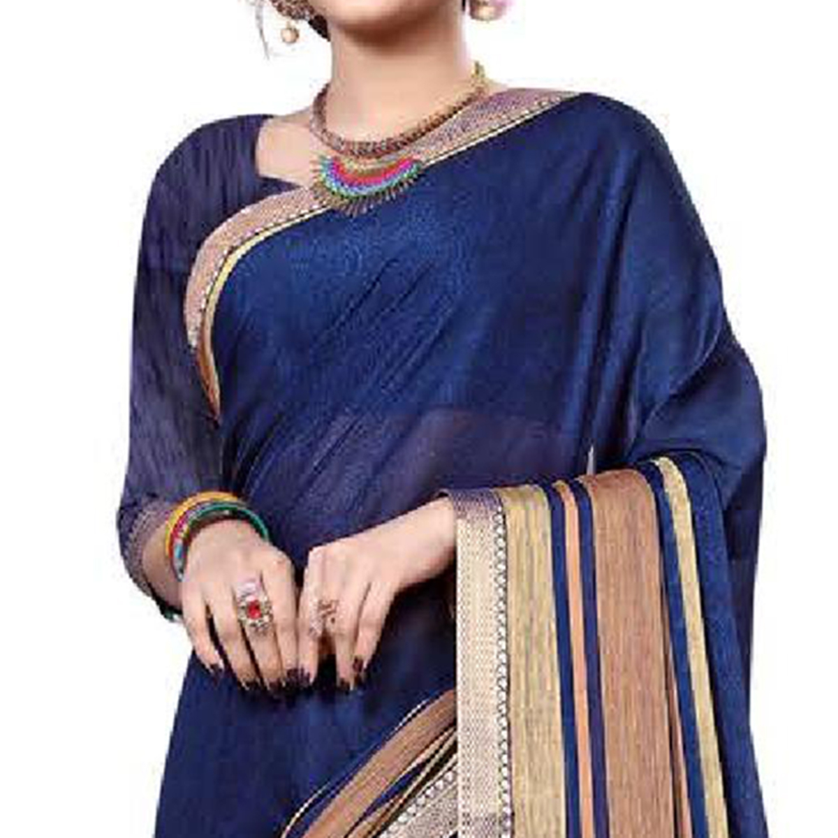 Gleaming Navy Blue Colored Festive Wear Printed Chiffon Saree