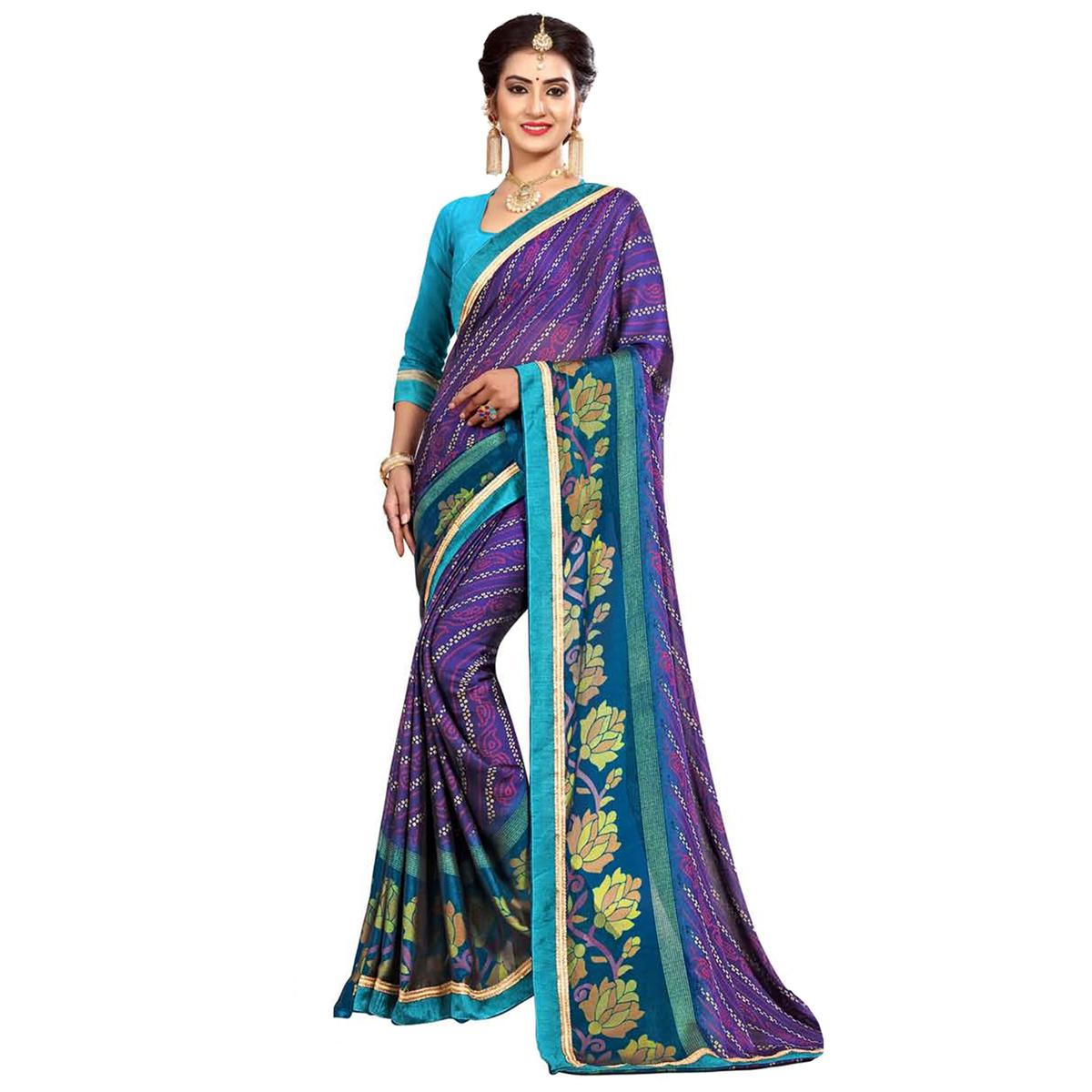 Gleaming Blue Colored Casual Wear Printed Georgette Saree