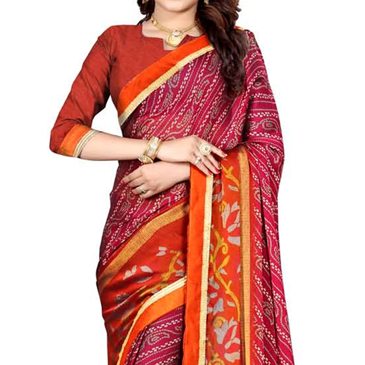Mesmeric Pink Colored Casual Wear Printed Georgette Saree