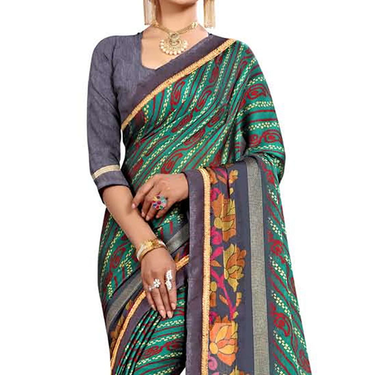 Unique Turquoise Green Colored Casual Wear Printed Georgette Saree