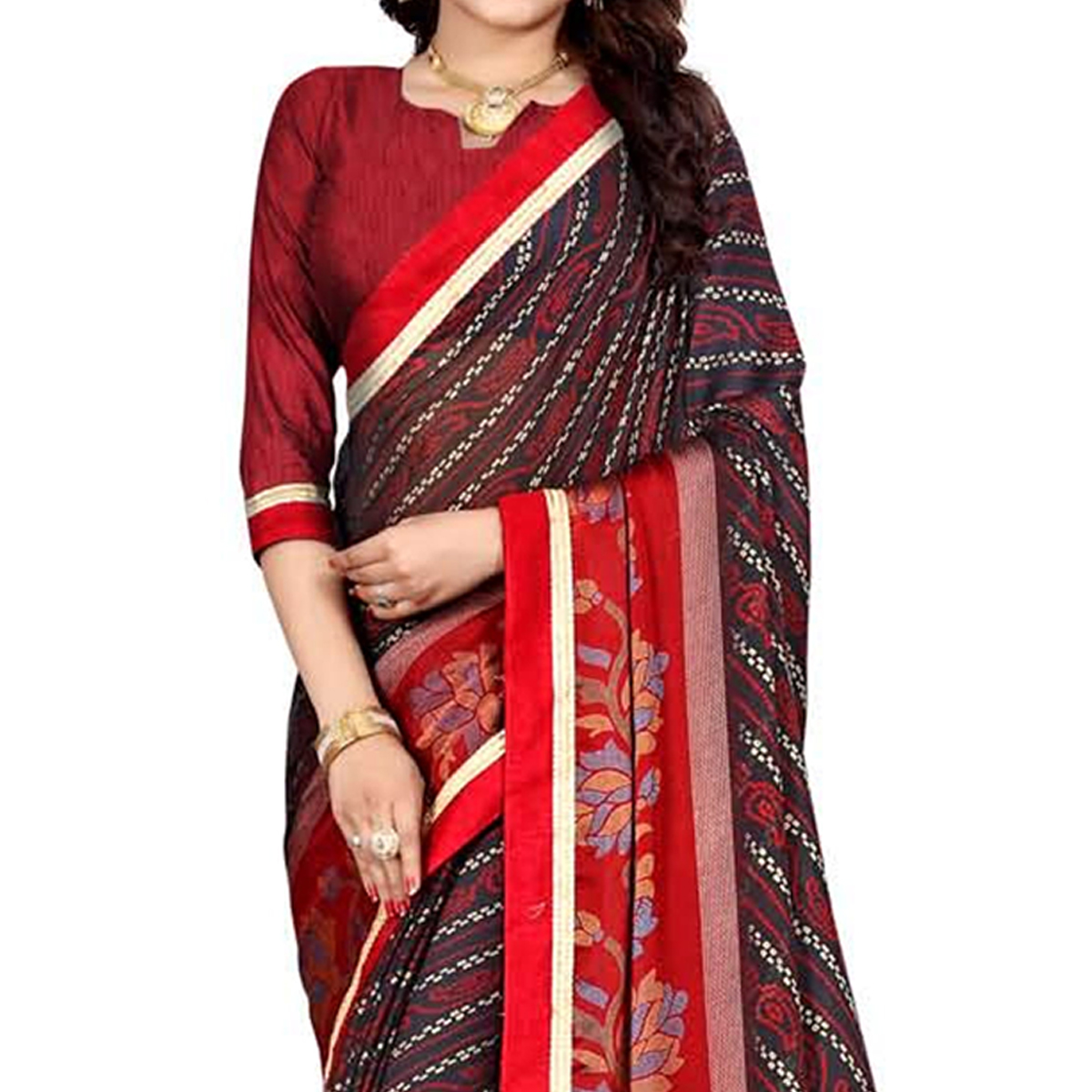 Demanding Black Colored Casual Wear Printed Georgette Saree
