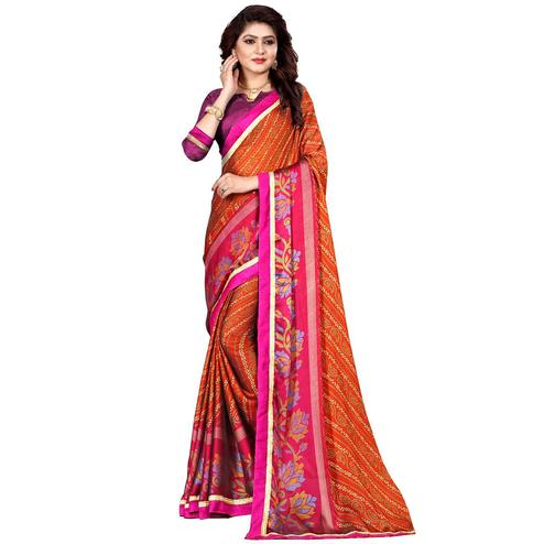 Refreshing Orange Colored Casual Wear Printed Georgette Saree