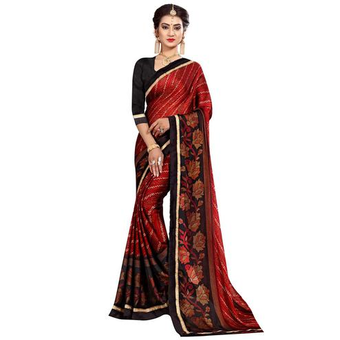 Hypnotic Red Colored Casual Wear Printed Georgette Saree
