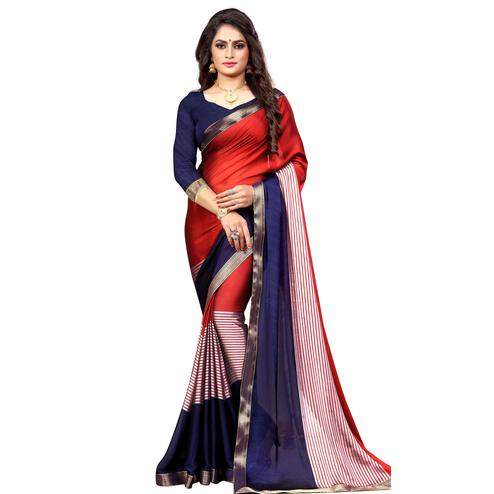 Elegant Red-Navy Blue Colored Casual Printed Georgette Saree