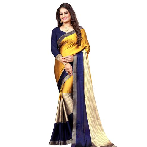 Excellent Yellow-Navy Blue Colored Casual Printed Georgette Saree