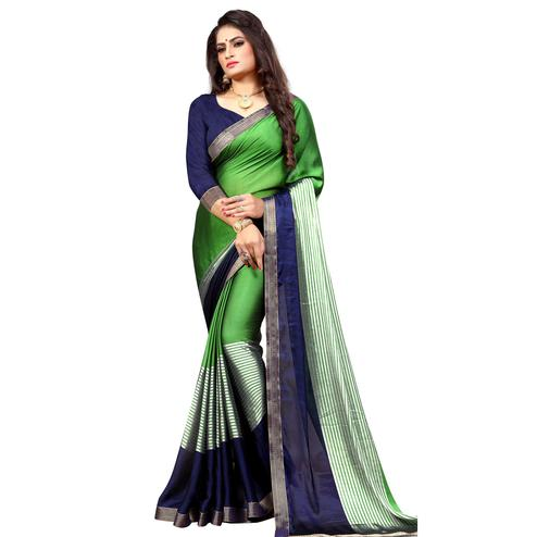 Breathtaking Green-Navy Blue Colored Casual Printed Georgette Saree