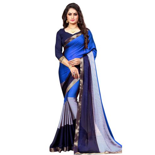 Alluring Royal Blue-Navy Blue Colored Casual Printed Georgette Saree