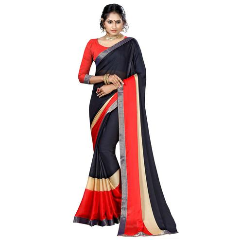 Classy Black Colored Casual Printed Chiffon Saree